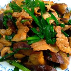 ニラ/豚バラ/ナス/炒め物/夕飯/おうちごはんクラブ/... ニラとナスと豚バラの味噌炒め 赤味噌ベー…