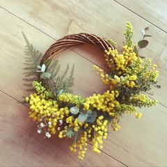 ミモザ/ユーカリ/手作りリース お家にある花で作ってみました😊