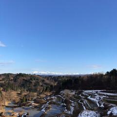 散歩/棚田/山/空/風景 雪がまだ…☆  11/3に雪が積もった年…