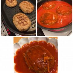 フライパン/カインズ/トマトソース/煮込みハンバーグ/煮込み/ハンバーグ/... りんごのカップケーキ☆  りんご消費第2…(2枚目)