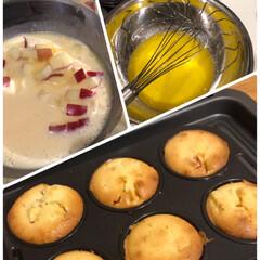 フライパン/カインズ/トマトソース/煮込みハンバーグ/煮込み/ハンバーグ/... りんごのカップケーキ☆  りんご消費第2…