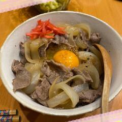 アロマキャンドル/サボテン/ブーケ/おうちごはん/華やかに/玄関/... 牛丼☆  美味しそうな牛肉で牛丼♪ 紅生…