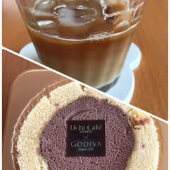ペロリ/美味しい/ロゴ付き/アイスカフェオレ/ロールケーキ/ローソンスイーツ/... アイスカフェオレと☆  ロールケーキ食べ…