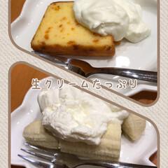 アプリコットケーキ/バナナ/いただきました/美味しい/うまうま/たっぷり/... どぉ〰︎しても食べたい☆  生クリームが…