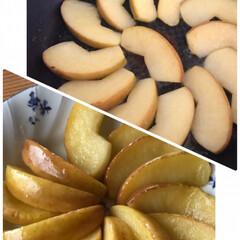 お昼ごはん/うどん/カップうどん/わかめ/おにぎり/焼きりんご/... とりあえず焼きりんご☆  りんご大量消費…