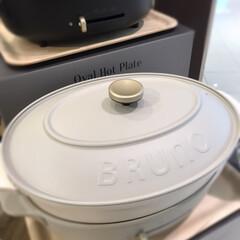 オーバルホットプレート ブラック | BRUNO(ホットプレート)を使ったクチコミ「丸型BRUNO発見☆  キッチン雑貨屋さ…」