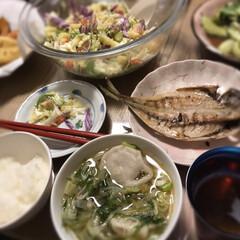 実家/夕ご飯/ビール/チンゲン菜炒め/小籠包スープ/アジの開き/... おうちごはん☆  野菜たっぷりおうちごは…