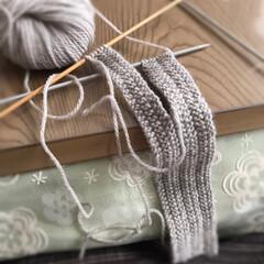 景色/実家/雪/こたつ/毛糸/編み物/... こたつで編み物☆  今日は雪がすごいです…