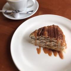 キャラメルソース/ミルクレープ/ホットコーヒー/デザート/ランチ/3時/... 3時にはお茶…☆  3時のデザート ミル…