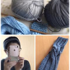 毛糸/トーカイ/グレー/編み物/ヘアバンド/手編み/... 手編みのヘアバンド☆  作冬編んだ手編み…