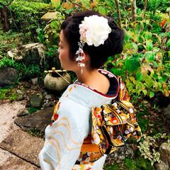 ファッション #成人式前撮り #手づくり髪飾り