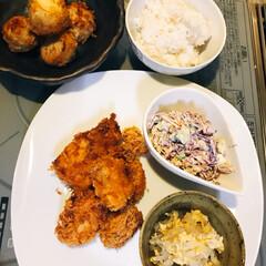 お家ごはん/夕飯/グルメ/フード/おうちごはん 鳥カツ、切り干し大根卵とじ コールスロー…(2枚目)