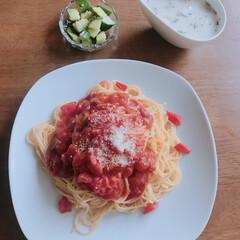 熊本塩トマト/ナポリタン/お昼ごはん/おうちごはんクラブ/わたしのごはん ナポリタン 熊本塩トマトで。 クラムチャ…