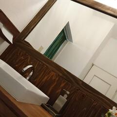 洗面カウンター/洗面所/洗面台/洗面/インテリア/トイレ/... 洗面所DIYのbefore、afterで…(1枚目)