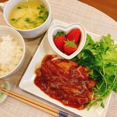 料理/夜ごはん/おうちごはん 昨日の夜ご飯はトンテキでした☺️✨(1枚目)