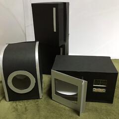 厚紙で作ったミニ家電 洗濯機とレンジは手動で回せます。