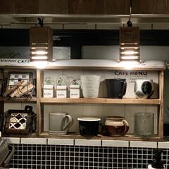カフェ風インテリア/男前インテリア/キッチン/雑貨/ハンドメイド/DIY/... こんばんは✨✨ 前に作ったシェルフの上に…