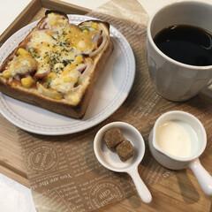 珈琲/コーヒー/ピザトースト/ピザ/お昼ご飯/お昼ごはん/...  нёllо❁︎   今日も小春日和🌸🍃…