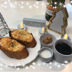 朝食/バケット/コーヒー/おうちごはん/セリア/雑貨/... 今日の朝食🥖☕️は簡単に明太子フランスパ…