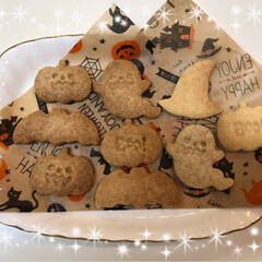 スイーツ/おやつ/お菓子/ハロウィン/クッキー/グルメ/... ハロウィンクッキー🎃👻🎃👻 プレーン&小…(2枚目)