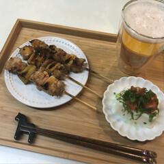 炊飯マグ/oisix/冷奴/焼き鳥/晩酌/ビール/...  こんばんは🌙.*·̩͙.。★*゚  今…