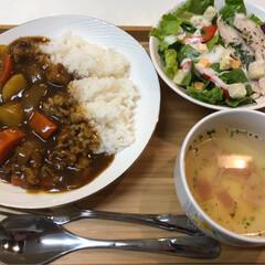 メロン/デザート/スープ/サラダ/カレー/夕食/... 今日の夕食は、昨日、買ったスプーンを使い…