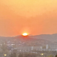 夕焼け/夕陽 夕方、ブラインドを閉める時に、夕陽がとて…