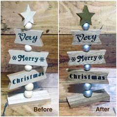 塗装/クリスマスアイデア/クリスマスオブジェ/100均/ダイソー/セリア/... セリアの木製ツリーをちょい塗装😊 土台、…