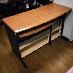 収納術/収納棚/収納アイデア/収納スペース/キッチンカウンターDIY/棚DIY/... 自分の部屋で使っていたPCデスクをキッチ…