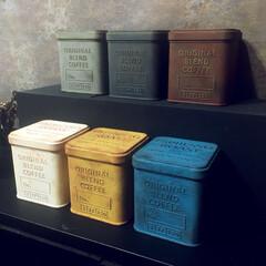 ダイソー/ターナーミルクペイント/ペイント/サビ加工/サビ塗装/汚し塗装/... 【セリアのミニコーヒー缶】 上段はインダ…