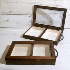 木製ボックス/フォトフレームDIY/フォトフレーム/箸置き収納/箸置きディスプレイ/箸置き入れ/... 木製ボックス2個のサイズに合わせてフォト…
