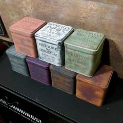 サビ加工/塗装/男前インテリア/セリアのコーヒー缶/汚し塗装/サビ塗装/... セリアのコーヒー缶 塗装した全7種類👍