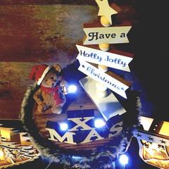 作り方載せてます/作り方公開中/作り方はアイデアをご覧ください/デコレーションライト/LIMIA/クリスマスオブジェ/... クリスマスディスプレイ すべて100均ア…