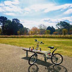 お出かけ日和/お出かけ/自転車/折りたたみ自転車/コカコーラ自転車/コカコーラ/... コカコーラ自転車でお散歩サイクリング🙌