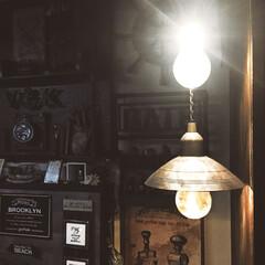 電気/エジソンランプ/ペンダントライト/100均DIY/ライト/smilemind/... もっと飾る場所が欲しい今日この頃🤔