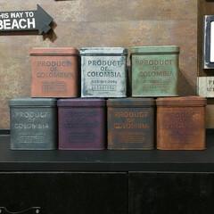 サビ加工/塗装/男前インテリア/セリアのコーヒー缶/汚し塗装/サビ塗装/... セリアのコーヒー缶 塗装した全7種類👍(2枚目)