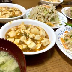 おウチごはん 麻婆豆腐とビーフン焼きの夕飯  初、ビー…
