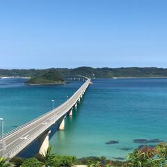 加工無し/青い海/2018夏/角島大橋/角島 仲良し家族で行った角島大橋ー。 頑張って…