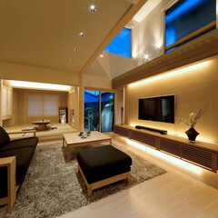 LIXIL/LIXILの窓/リクシル/ダウンライト/間接照明/間接照明のある暮らし/... ♪リビングの施工事例♪⠀ 吹き抜け上から…