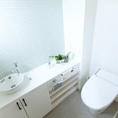LIXIL/リクシル/トイレリフォーム/トイレ/タンクレストイレ/サティス/... ♪トイレの施工事例♪⠀ ホワイトのカウン…