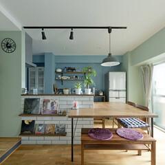 LIXIL/リクシル/リクシルキッチン/キッチン/キッチンカウンター/カフェ風なおうちを目指して/... ♪ダイニング・キッチンの施工事例♪⠀ 青…