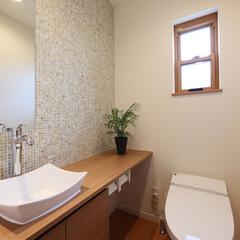 LIXIL/リクシル/トイレ/タンクレストイレ/サティス/トイレ手洗い/... ♪トイレの施工事例♪⠀ シンプルでゆとり…
