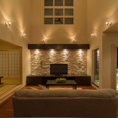 LIXIL/LIXILの窓/リクシル/フローリング/ダウンライト/間接照明/... ♪リビングの施工事例♪⠀ 各所の間接照明…