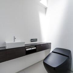 LIXIL/リクシル/トイレ/トイレリフォーム/タンクレストイレ/黒いトイレ/... ♪トイレの施工事例♪⠀ 天窓から光が差し…