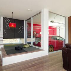 LIXIL/LIXILの窓/リクシル/大きな窓/ナチュラルモダン/ナチュラルモダンコーディネート/... ガレージの施工事例♪⠀ 木目の美しい素材…