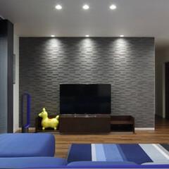 LIXIL/リクシル/エコカラット/内装建材/調湿/調湿タイル/... ♪リビングの施工事例♪⠀ テレビを置いて…(1枚目)