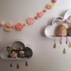 ニトリ/リメイク/インテリア/ハンドメイド/ひな祭り/ピンク/... 粘土のひな祭り用ガーランド完成しました。…