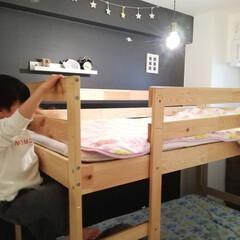 二段ベッド/壁紙/インテリア/寝室/ベッドルーム/敷きパッド/... 敷きパッドを子供部屋も変えてほしいと言わ…