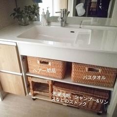 洗面所収納/洗面台/インテリア/収納/雑貨/住まい/... 洗面アイデアより。 ポイポイ収納が大好き…
