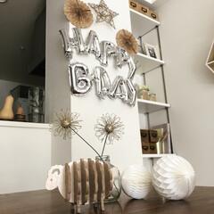 誕生日会/誕生日パーティー/飾り付け/コースター/雑貨/バースデーパーティー/... 10月は娘と息子の誕生日で、飾り付けには…